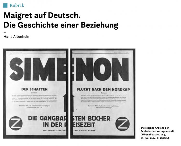 Maigret auf deutsch. Geschichte einer Beziehung