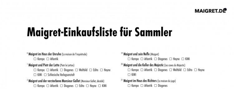 Maigret-Einkaufsliste