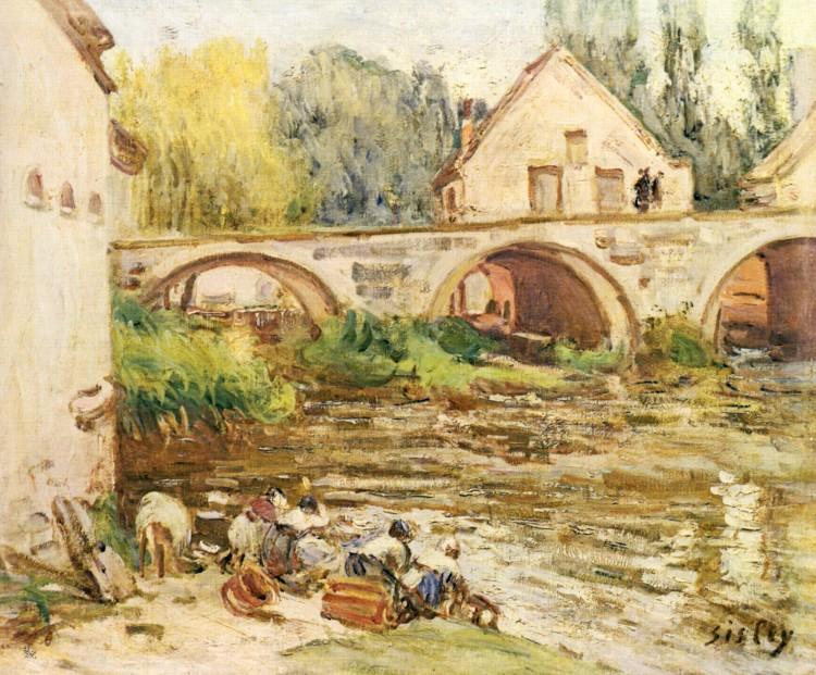 Alfred Sisley – »Lavandières à Moret« (1888)